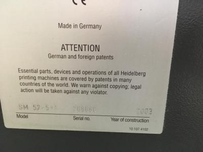 HEIDELBERG SM 52-5H+LX Formato 37 x 52