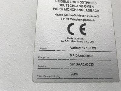 HEIDELBERG Varimatrix 105 CS Size 75 x 105